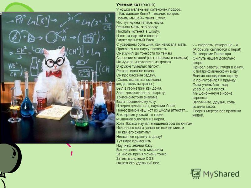 Ученый кот (басня) У кошки маленький котеночек подрос. – Как дальше быть? – возник вопрос. Ловить мышей – такая штука, Что тут нужна теперь наука. Реш