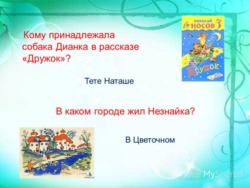 Кому принадлежала собака Дианка в рассказе «Дружок»? Тете Наташе В каком городе жил Незнайка? В Цветочном