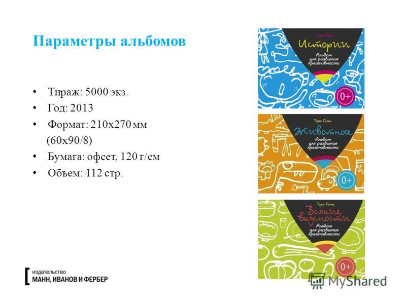 Тираж: 5000 экз. Год: 2013 Формат: 210х270 мм (60х90/8) Бумага: офсет, 120 г/см Объем: 112 стр. Параметры альбомов