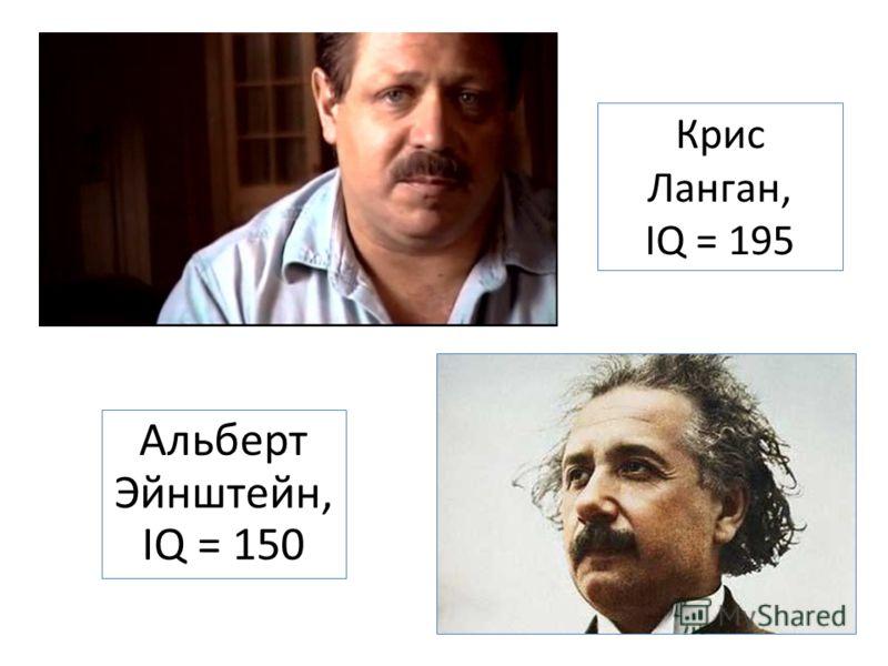 Крис Ланган, IQ = 195 Альберт Эйнштейн, IQ = 150
