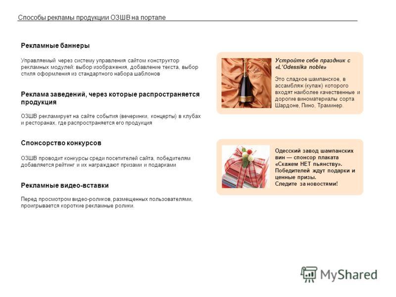 Способы рекламы продукции ОЗШВ на портале Рекламные баннеры Управляемый через систему управления сайтом конструктор рекламных модулей: выбор изображения, добавление текста, выбор стиля оформления из стандартного набора шаблонов Реклама заведений, чер