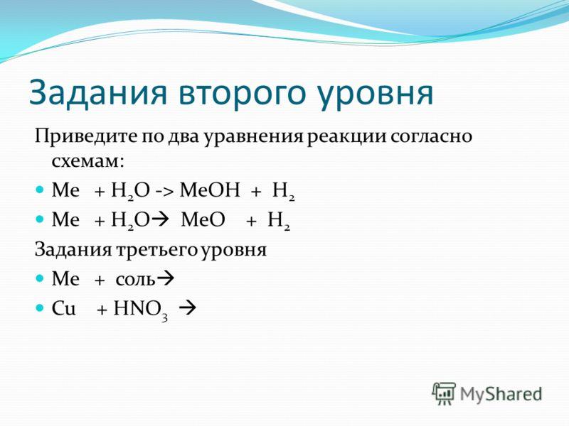 Задания второго уровня Приведите по два уравнения реакции согласно схемам: Ме + Н 2 О -> МеОН + Н 2 Ме + Н 2 О МеО + Н 2 Задания третьего уровня Ме + соль Cu + НNO 3