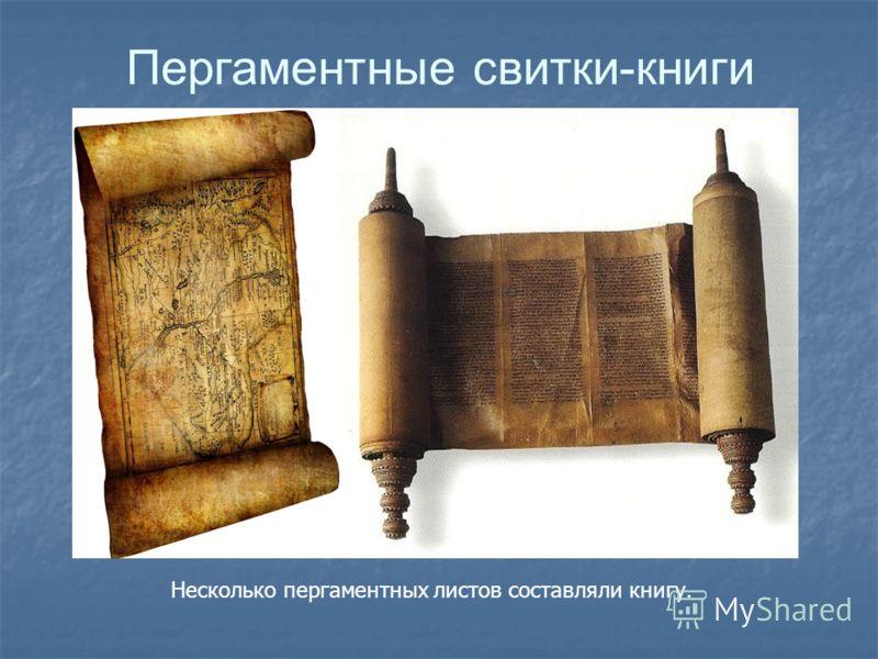 Пергаментные свитки-книги Несколько пергаментных листов составляли книгу.