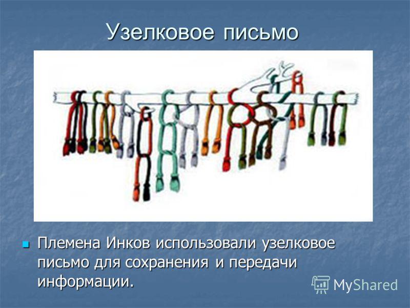 Узелковое письмо Племена Инков использовали узелковое письмо для сохранения и передачи информации. Племена Инков использовали узелковое письмо для сохранения и передачи информации.