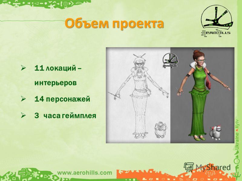 11 локаций – интерьеров 14 персонажей 3 часа геймплея Объем проекта www.aerohills.com