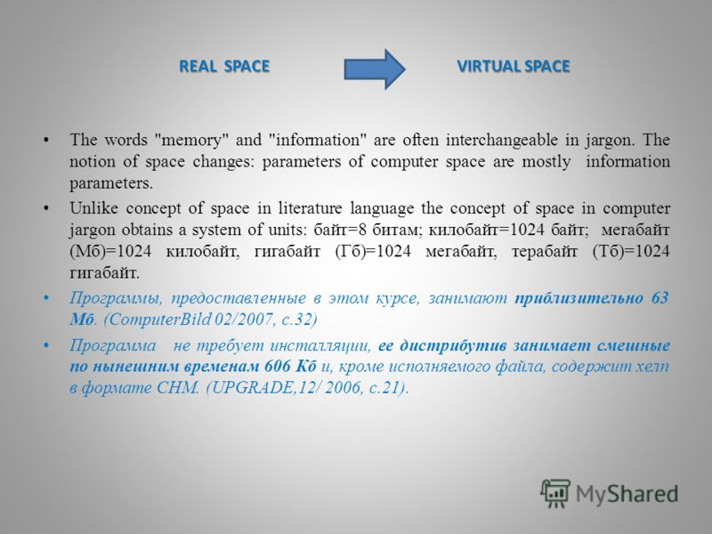 REAL SPACE VIRTUAL SPACE REAL SPACE VIRTUAL SPACE The words