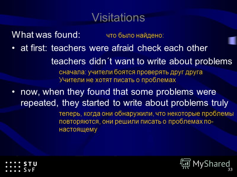 Visitations What was found: что было найдено: at first:teachers were afraid check each other teachers didn´t want to write about problems сначала: учители боятся проверять друг друга Учители не хотят писать о проблемах now, when they found that some