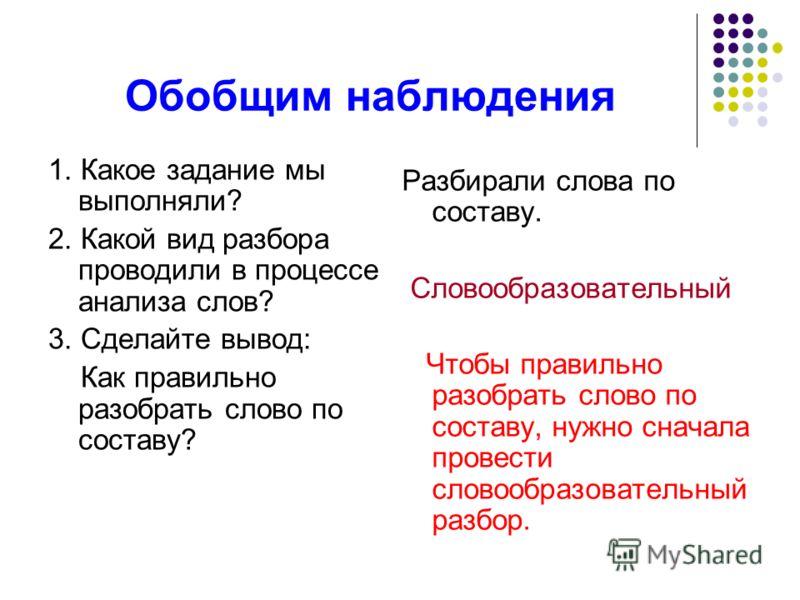 Обобщим наблюдения 1. Какое задание мы выполняли? 2. Какой вид разбора проводили в процессе анализа слов? 3. Сделайте вывод: Как правильно разобрать слово по составу? Разбирали слова по составу. Словообразовательный Чтобы правильно разобрать слово по