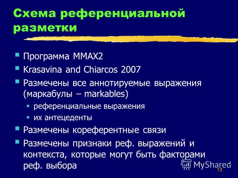 13 Схема референциальной разметки Программа ММАХ2 Krasavina and Chiarcos 2007 Размечены все аннотируемые выражения (маркабулы – markables) референциальные выражения их антецеденты Размечены кореферентные связи Размечены признаки реф. выражений и конт