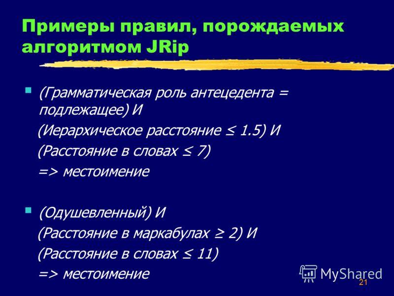 21 Примеры правил, порождаемых алгоритмом JRip (Грамматическая роль антецедента = подлежащее) И (Иерархическое расстояние 1.5) И (Расстояние в словах 7) => местоимение (Одушевленный) И (Расстояние в маркабулах 2) И (Расстояние в словах 11) => местоим