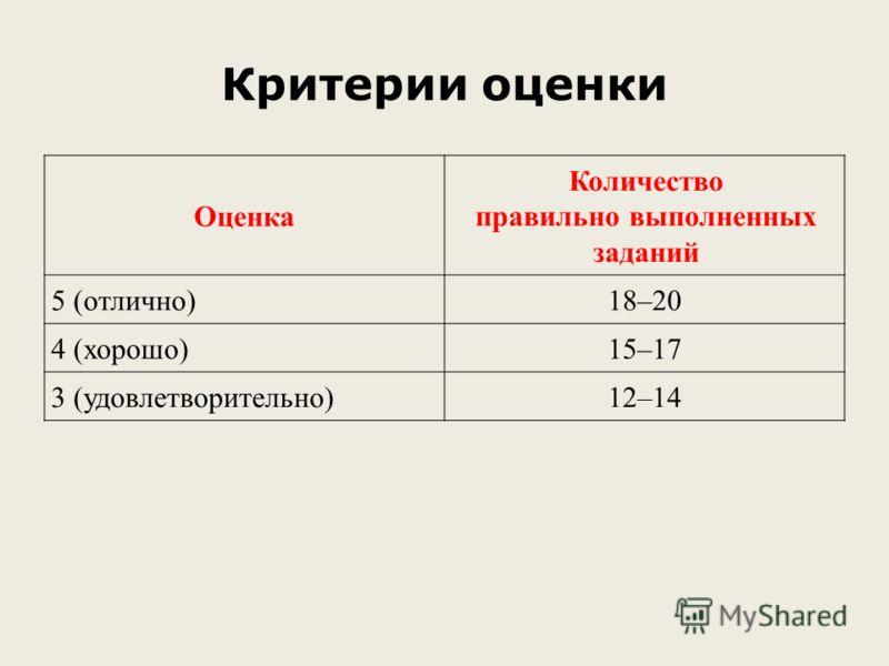 Критерии оценки Оценка Количество правильно выполненных заданий 5 (отлично)18–20 4 (хорошо)15–17 3 (удовлетворительно)12–14