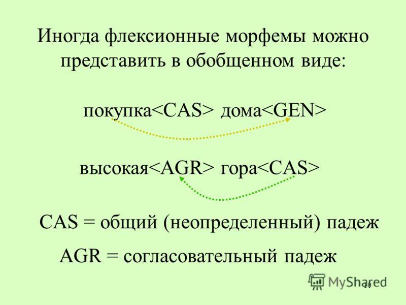 10 CAS = общий (неопределенный) падеж высокая гора AGR = согласовательный падеж Иногда флексионные морфемы можно представить в обобщенном виде: покупка дома
