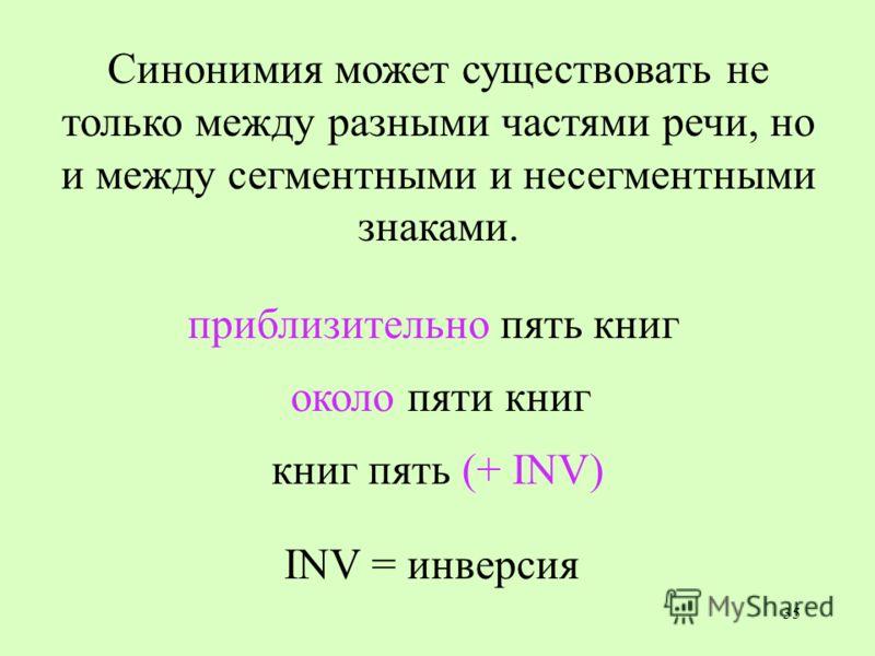 35 Синонимия может существовать не только между разными частями речи, но и между сегментными и несегментными знаками. приблизительно пять книг книг пять (+ INV) INV = инверсия около пяти книг