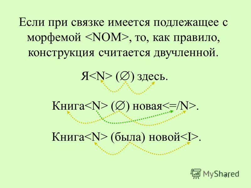 51 Если при связке имеется подлежащее с морфемой, то, как правило, конструкция считается двучленной. Я ( ) здесь. Книга ( ) новая. Книга (была) новой.