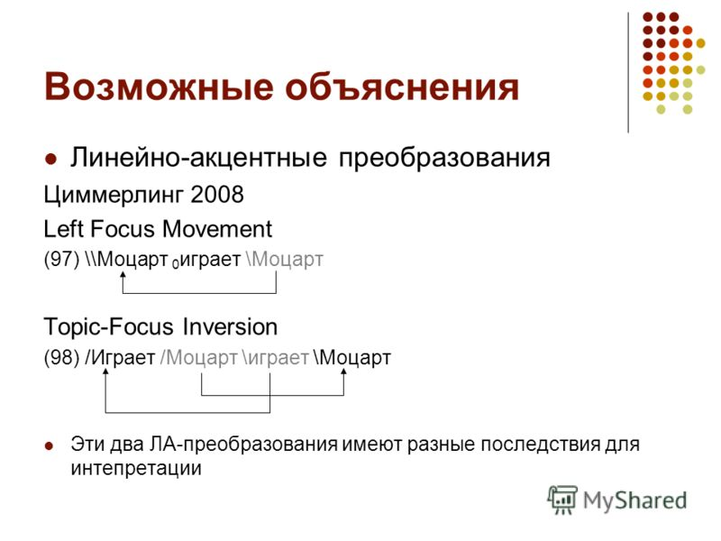 Возможные объяснения Линейно-акцентные преобразования Циммерлинг 2008 Left Focus Movement (97) \\Моцарт 0 играет \Моцарт Topic-Focus Inversion (98) /Играет /Моцарт \играет \Моцарт Эти два ЛА-преобразования имеют разные последствия для интепретации