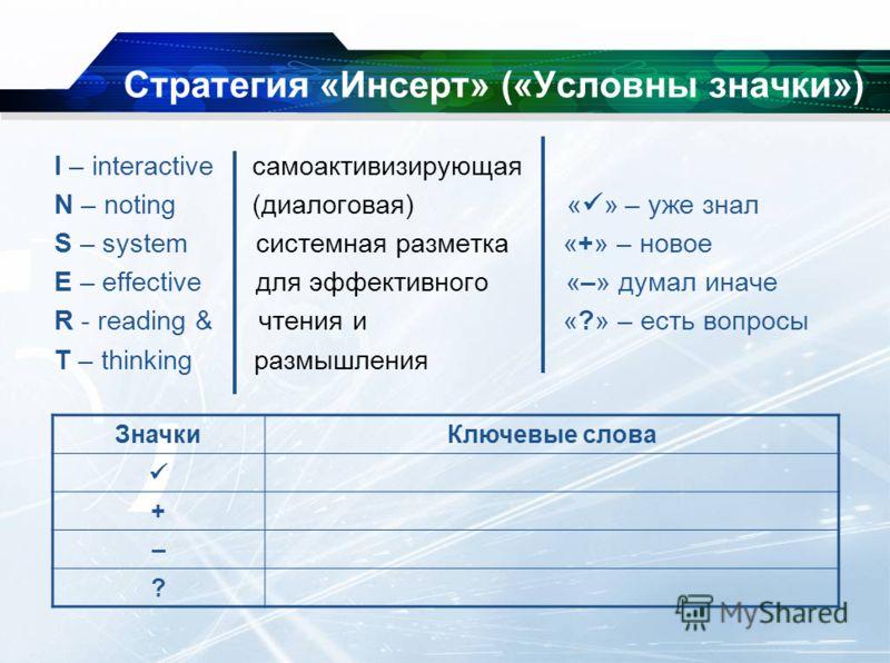 Стратегия «Инсерт» («Условны значки») I – interactive самоактивизирующая N – noting (диалоговая) « » – уже знал S – system системная разметка «+» – новое E – effective для эффективного «–» думал иначе R - reading & чтения и «?» – есть вопросы T – thi