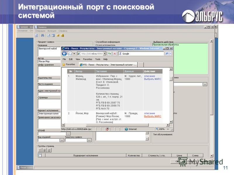 11 Интеграционный порт с поисковой системой