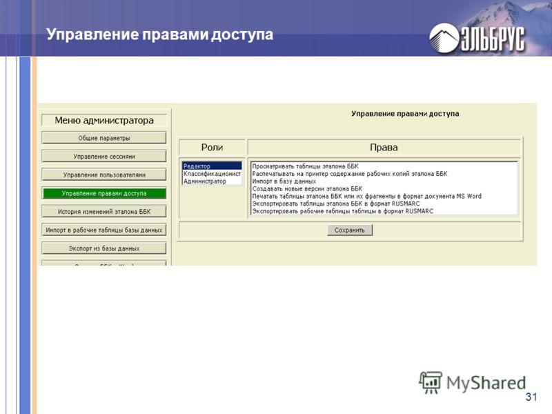 31 Управление правами доступа