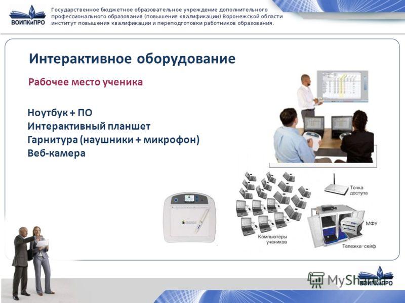 Интерактивное оборудование Рабочее место ученика Ноутбук + ПО Интерактивный планшет Гарнитура (наушники + микрофон) Веб-камера