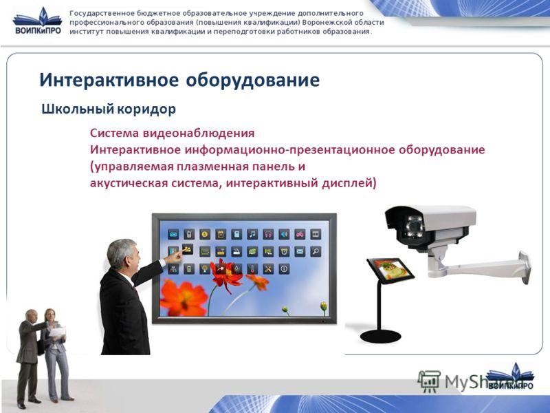 Интерактивное оборудование Школьный коридор Система видеонаблюдения Интерактивное информационно-презентационное оборудование (управляемая плазменная панель и акустическая система, интерактивный дисплей)