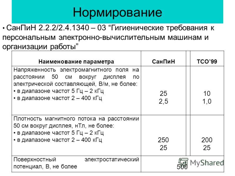 Нормирование Наименование параметраСанПиНTCO99 Напряженность электромагнитного поля на расстоянии 50 см вокруг дисплея по электрической составляющей, В/м, не более: в диапазоне частот 5 Гц – 2 кГц в диапазоне частот 2 – 400 кГц 25 2,5 10 1,0 Плотност