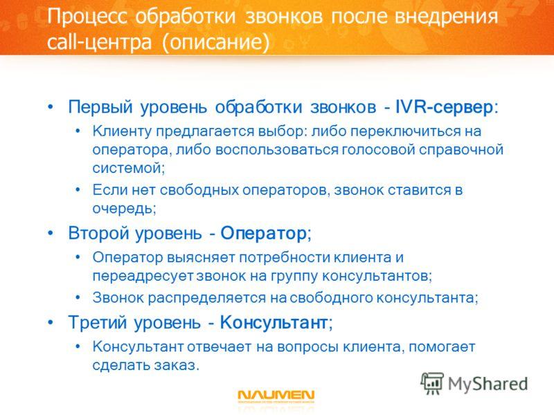 Процесс обработки звонков после внедрения call-центра (описание) Первый уровень обработки звонков - IVR-сервер: Клиенту предлагается выбор: либо переключиться на оператора, либо воспользоваться голосовой справочной системой; Если нет свободных операт