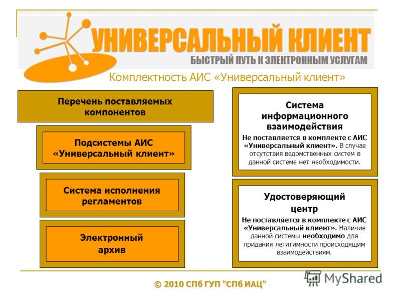 Комплектность АИС «Универсальный клиент» © 2010 СПб ГУП