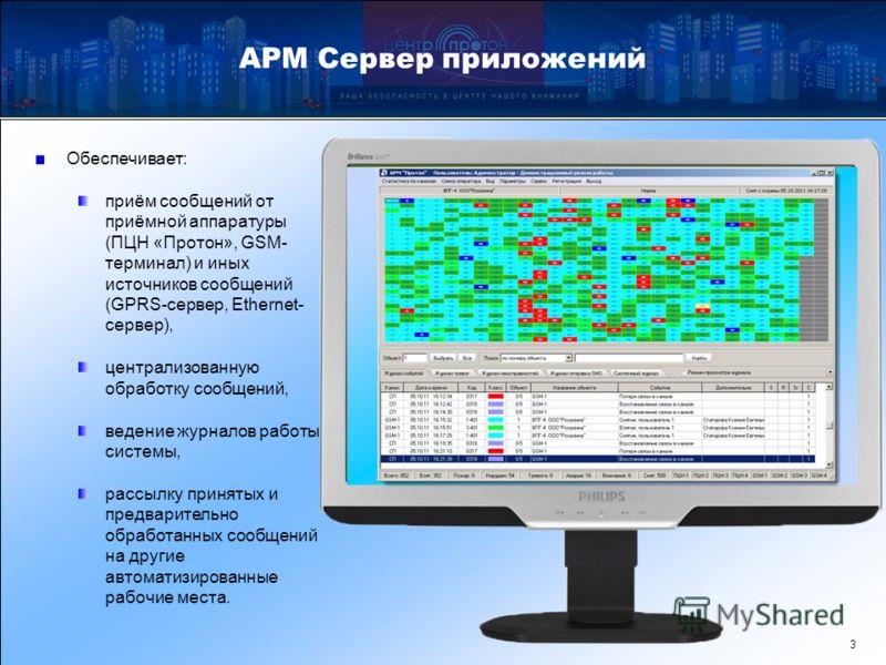 АРМ Сервер приложений 3 Обеспечивает: приём сообщений от приёмной аппаратуры (ПЦН «Протон», GSM- терминал) и иных источников сообщений (GPRS-сервер, Ethernet- сервер), централизованную обработку сообщений, ведение журналов работы системы, рассылку пр