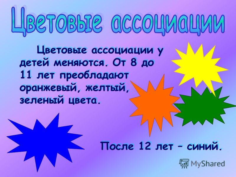 Цветовые ассоциации у детей меняются. От 8 до 11 лет преобладают оранжевый, желтый, зеленый цвета. Цветовые ассоциации у детей меняются. От 8 до 11 лет преобладают оранжевый, желтый, зеленый цвета. После 12 лет – синий.