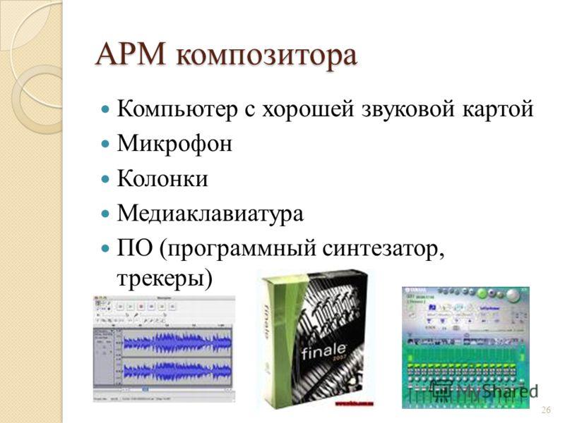 АРМ композитора Компьютер с хорошей звуковой картой Микрофон Колонки Медиаклавиатура ПО (программный синтезатор, трекеры) 26