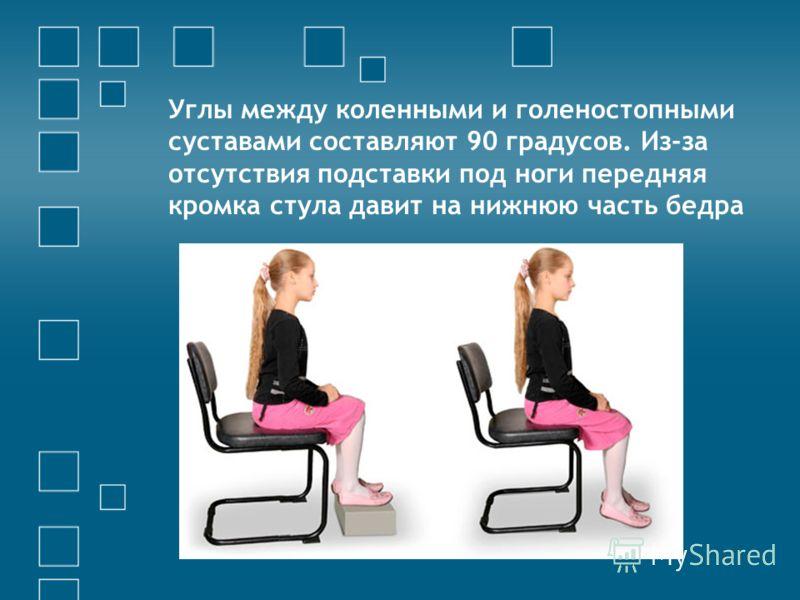 Углы между коленными и голеностопными суставами составляют 90 градусов. Из-за отсутствия подставки под ноги передняя кромка стула давит на нижнюю часть бедра