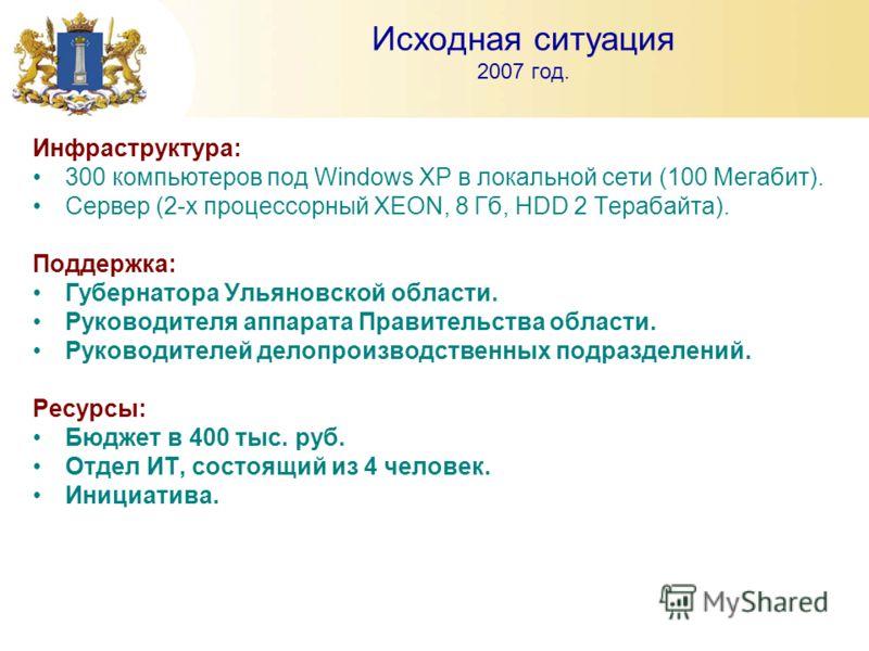Исходная ситуация 2007 год. Инфраструктура: 300 компьютеров под Windows XP в локальной сети (100 Мегабит). Сервер (2-х процессорный XEON, 8 Гб, HDD 2 Терабайта). Поддержка: Губернатора Ульяновской области. Руководителя аппарата Правительства области.