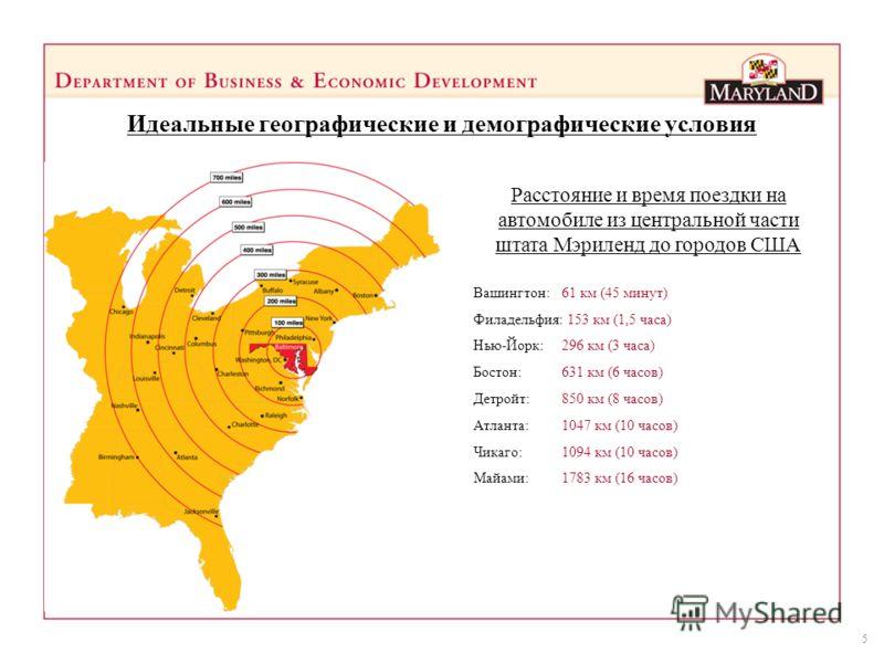 5 Идеальные географические и демографические условия Расстояние и время поездки на автомобиле из центральной части штата Мэриленд до городов США Вашингтон: 61 км (45 минут) Филадельфия: 153 км (1,5 часа) Нью-Йорк: 296 км (3 часа) Бостон: 631 км (6 ча