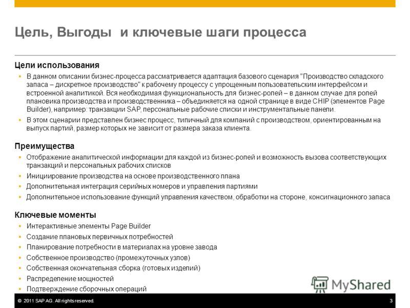 ©2011 SAP AG. All rights reserved.3 Цель, Выгоды и ключевые шаги процесса Цели использования В данном описании бизнес-процесса рассматривается адаптация базового сценария
