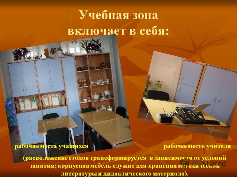 Учебная зона включает в себя: рабочие места учащихся рабочее место учителя (расположение столов трансформируется в зависимости от условий занятия; корпусная мебель служит для хранения методической литературы и дидактического материала).