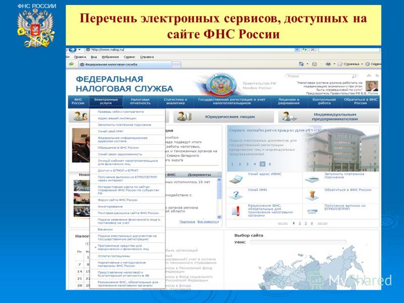 ФНС РОССИИ Перечень электронных сервисов, доступных на сайте ФНС России