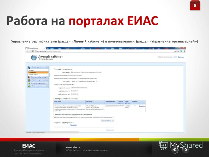 Управление сертификатами (раздел «Личный кабинет») и пользователями (раздел «Управление организацией») ЕИАС Единая Информационная Аналитическая Система www.eias.ru ООО «Институт системного мониторинга» 8 8 Работа на порталах ЕИАС