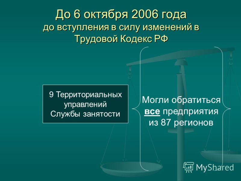 До 6 октября 2006 года до вступления в силу изменений в Трудовой Кодекс РФ 9 Территориальных управлений Службы занятости Могли обратиться все предприятия из 87 регионов