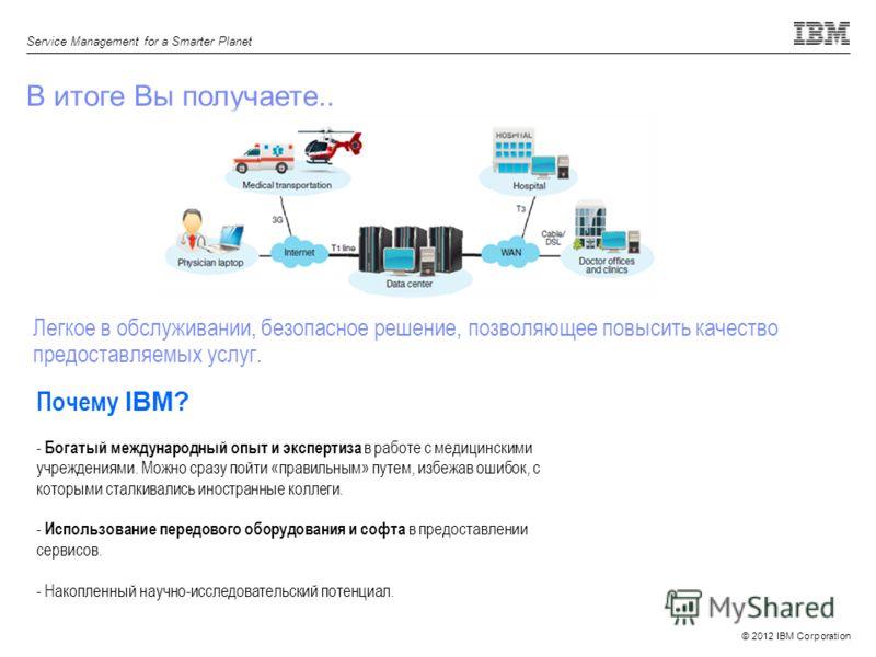 © 2012 IBM Corporation Service Management for a Smarter Planet В итоге Вы получаете.. Легкое в обслуживании, безопасное решение, позволяющее повысить качество предоставляемых услуг. Почему IBM? - Богатый международный опыт и экспертиза в работе с мед