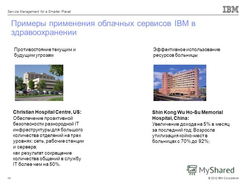 © 2012 IBM Corporation Service Management for a Smarter Planet 14 Примеры применения облачных сервисов IBM в здравоохранении Противостояние текущим и будущим угрозам Christian Hospital Centre, US: Обеспечение проактивной безопасности разнородной IT и