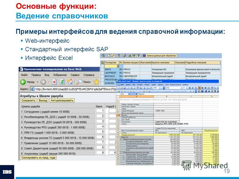 19 Основные функции: Ведение справочников Примеры интерфейсов для ведения справочной информации: Web-интерфейс Стандартный интерфейс SAP Интерфейс Excel