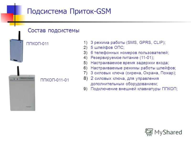 Состав подсистемы Подсистема Приток-GSM ППКОП-011 ППКОП-011-01 1)3 режима работы (SMS, GPRS, CLIP); 2)5 шлейфов ОПС; 3)6 телефонных номеров пользователей; 4)Резервируемое питание (11-01); 5)Настраиваемое время задержки входа; 6)Настраиваемые режимы р