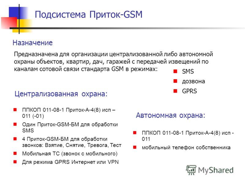 Подсистема Приток-GSM Назначение Автономная охрана: Предназначена для организации централизованной либо автономной охраны объектов, квартир, дач, гаражей с передачей извещений по каналам сотовой связи стандарта GSM в режимах: SMS дозвона GPRS ППКОП 0