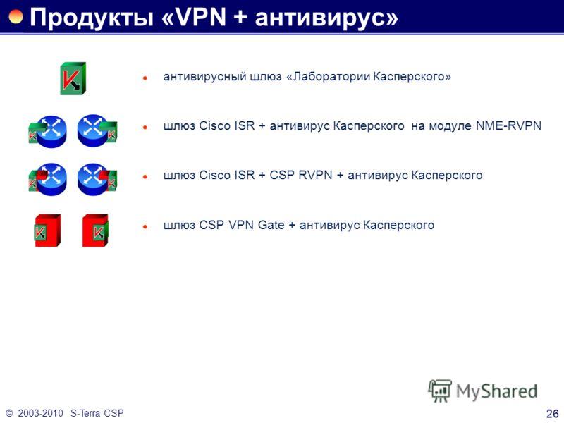 © 2003-2010 S-Terra CSP 26 Продукты «VPN + антивирус» антивирусный шлюз «Лаборатории Касперского» шлюз Cisco ISR + антивирус Касперского на модуле NME-RVPN шлюз Cisco ISR + CSP RVPN + антивирус Касперского шлюз CSP VPN Gate + антивирус Касперского