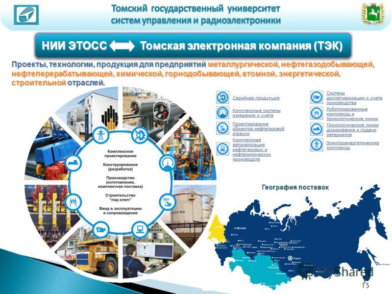 НИИ ЭТОСС Томская электронная компания (ТЭК) География поставок Проекты, технологии, продукция для предприятий металлургической, нефтегазодобывающей, нефтеперерабатывающей, химической, горнодобывающей, атомной, энергетической, строительной отраслей.