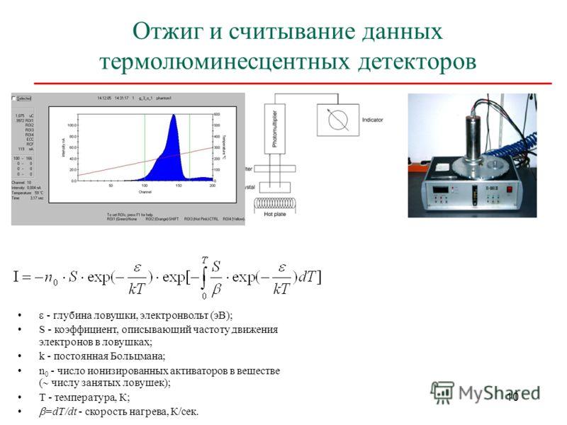10 Отжиг и считывание данных термолюминесцентных детекторов - глубина ловушки, электронвольт (эВ); S - коэффициент, описывающий частоту движения электронов в ловушках; k - постоянная Больцмана; n 0 - число ионизированных активаторов в веществе ( числ