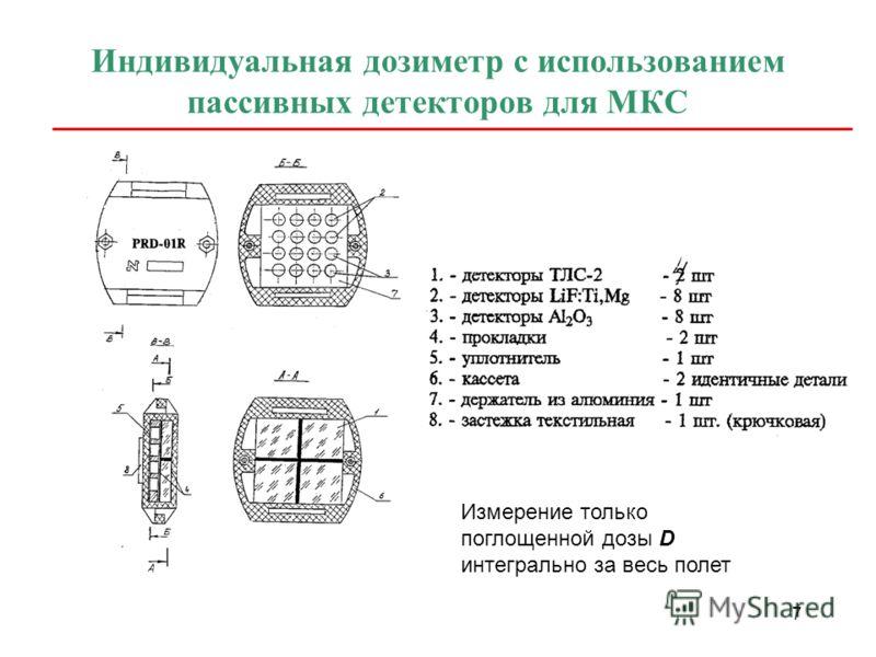 7 Индивидуальная дозиметр с использованием пассивных детекторов для МКС Измерение только поглощенной дозы D интегрально за весь полет