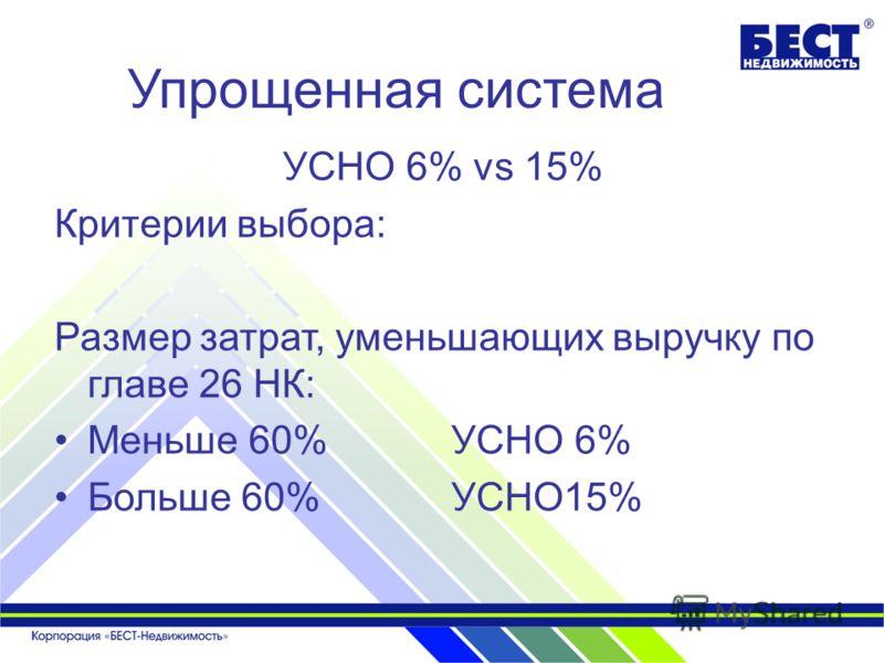 Упрощенная система УСНО 6% vs 15% Критерии выбора: Размер затрат, уменьшающих выручку по главе 26 НК: Меньше 60% УСНО 6% Больше 60% УСНО15%