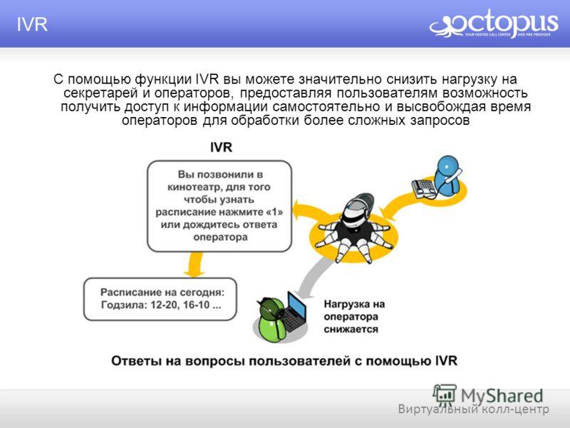 С помощью функции IVR вы можете значительно снизить нагрузку на секретарей и операторов, предоставляя пользователям возможность получить доступ к информации самостоятельно и высвобождая время операторов для обработки более сложных запросов IVR Виртуа