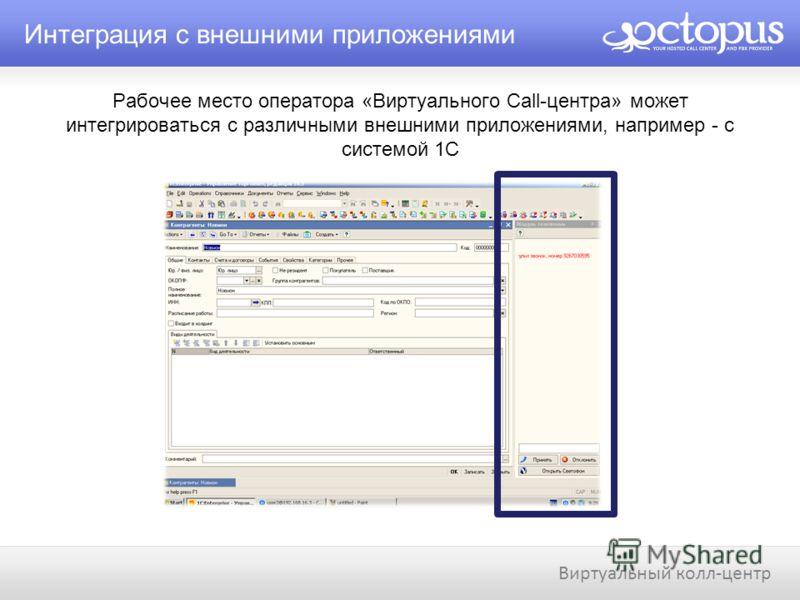 Рабочее место оператора «Виртуального Call-центра» может интегрироваться с различными внешними приложениями, например - с системой 1С Интеграция с внешними приложениями Виртуальный колл-центр